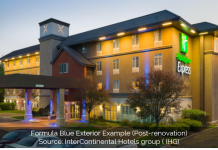 A Holiday Inn Express renovated under the brand's Formula Blue initiative.